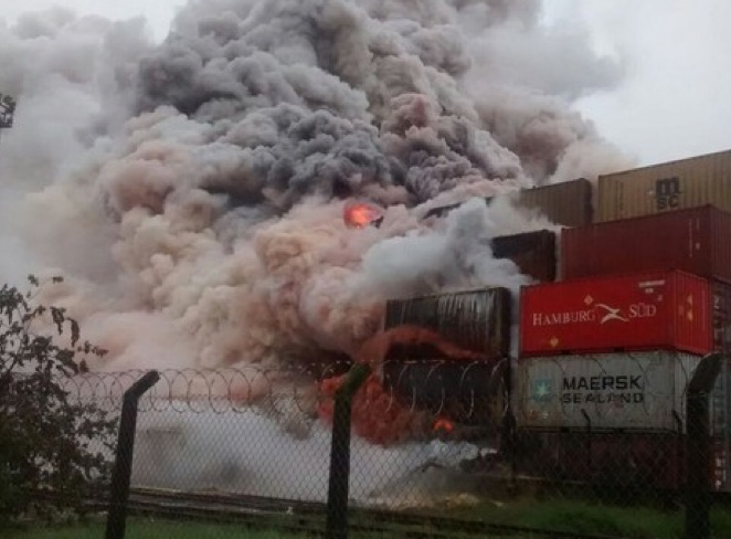 Fire in container storage